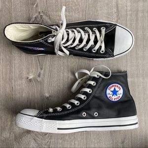 Black Leather COVERSE OS Chuck Taylor High Tops 9